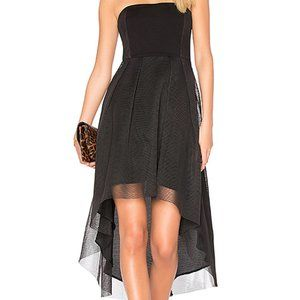 Elysian Strapless Hi-Low Dress with Mesh Overlay